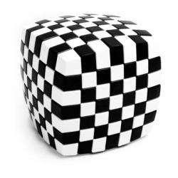V-Cube 7x7 : Damier Blanc/Noir Bombé