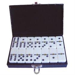 Dominos 6 : ivoire rivet boîte simili cuir