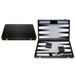 Backgammon 46cm : Cuir Noir