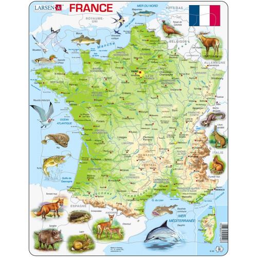 Puzzle : 60 pièces -Puzzle Cadre - Carte de la France