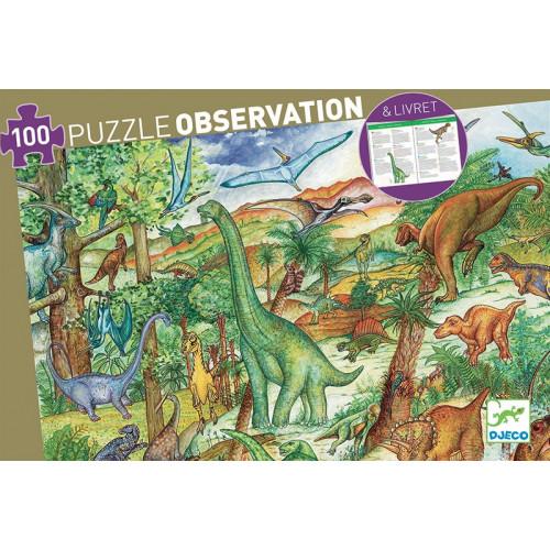Puzzle : 100 pièces - Dinosaures et son Livret