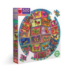 Puzzle : 500 pièces rond - Vintage butterflies