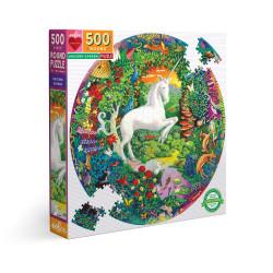 Puzzle : 500 pièces rond - Unicorn Garden