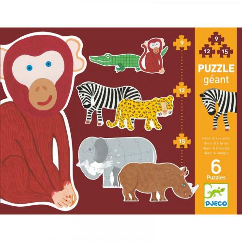 Puzzle Géant : 9-12-15 pièces - Henry et ses amis