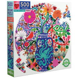 Puzzle : 500 pièces rond - Birds and flowers